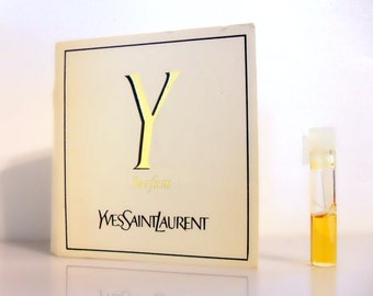 Vintage 1980s Y by Yves Saint Laurent 0.02 oz Parfum Sample Vial on Card PERFUME