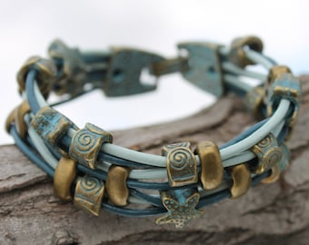 synthetic leather Bracelet with patina metal beads