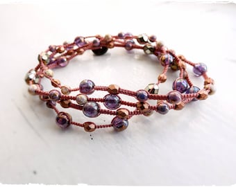 Macrame Multi-wrap Bracelet / Necklace with Czech Glass Beads In Copper and Purple
