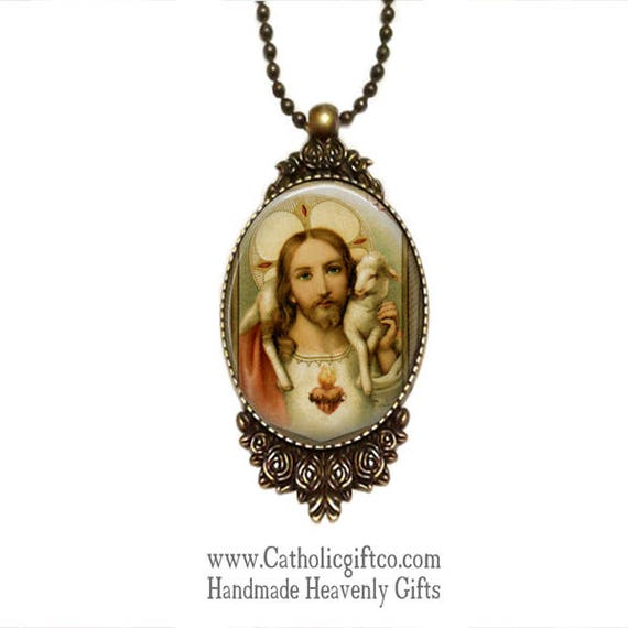 Jesus the Good Shepherd Necklace with 18 or 24  inch chain - Catholic Pendant