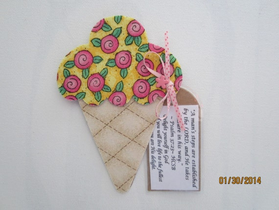 Refrigerator Magnet Godmother Godparent Quote Pink: Fabric Ice Cream Cone Magnet-Mixed Media Decoration-PinkFabric