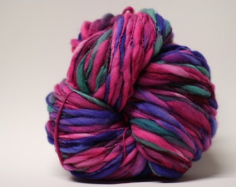 Thick and Thin Merino Handspun Wool Yarn Slub tts(tm) Hand dyed Half-Pounder LR 1606x