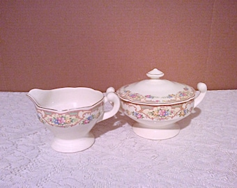 Mt Clemens Mildred pattern creamer and sugar bowl, floral scalloped edge with gold line Mildred creamer and sugar bowl