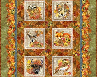 """Autumn Friends Quilt Kit - In The Beginning Fabric - finishes 56"""" x 72"""" - Olive Version - DIY Project - Fabric Bundle"""