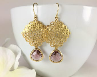Gold Chandelier Earrings Gold Filigree Earrings Plum Earrings Crystal Dangle Drop Earrings Purple Earrings Wedding Bridesmaid Earrings Gift