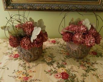 Sweet faux flowers in pots