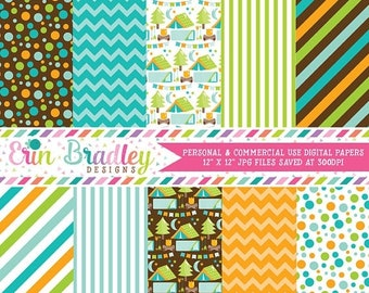 80% OFF SALE Camping Digital Papers Blue Polka Dots Chevron & Stripes Patterns Personal and Commercial Use Digital Papers