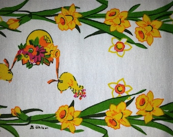 Printed table runner with Easter motifs  Designed by Bühler in yellow and green on white bottom, Sweden 1970s