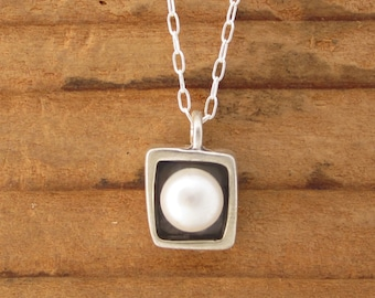 Small Square Modern Pearl Necklace - Sterling Silver and Freshwater Pearl Necklace with Black Patina