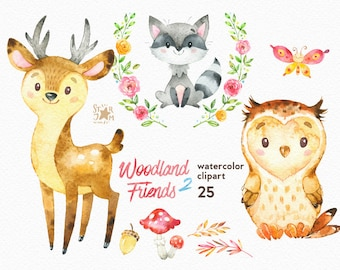 Woodland Friends 2. Watercolor animals clipart, forest, deer, raccoon, owl, greeting, invite, kids, flowers, floral, wreath, diy, shower