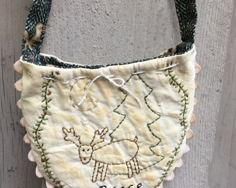 Deer Hand Embroidered Gift Bag  - Winter Decor - Primitive Decoration - Country Display -Gift Card Holder - All Occasion Gift Bag