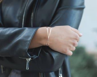 Crossed bracelet, Silver crossed bangle, Double bangle, Rigid bracelet, Silver bracelet, Gold plated bracelet, X shaped bracelet
