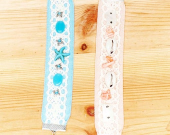 Bracelets are made of lace with semiprecious stones