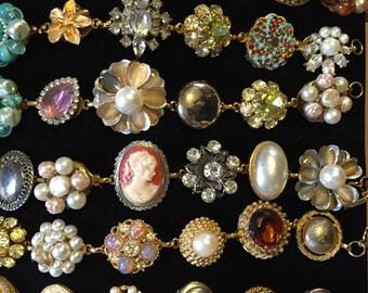 Bracelet made of hand picked vintage earrings.