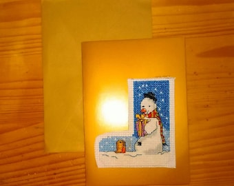 Christmas Card Snowman Handmade