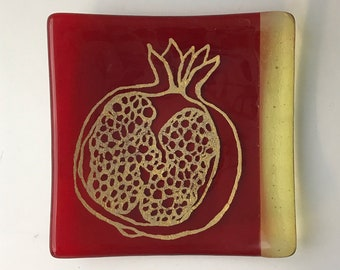 Pomegranate Fused Glass Catch All Dish, Fruit Keys And Coins Tray, Nature Square Dish