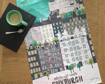 Edinburgh Castle Tea Towel / Edinburgh Street Tea Towel / Large Dish Cloth / Scotland Tea Towel / Fathers Day Gift / Wanderlust Gift