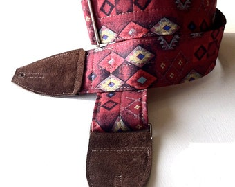 Red Southwest Diamonds Guitar Strap with Chocolate Brown Leather Ends