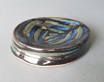 Concave Oval Textured Soap Dish in Gloss Black Blue Tan Handmade Pottery