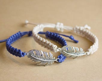 Feather Bracelet, Feather Macrame Bracelet, Feather Jewelry