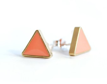 Geometric Brass Triangle Stud earrings with Coral Resin