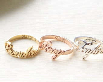 stacked name s product gift personalized jewelry mother hammered rings