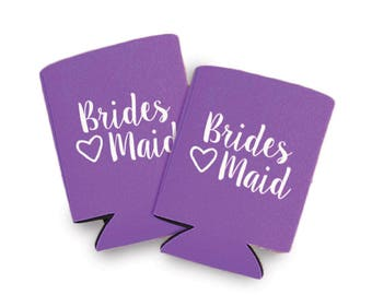 Bridesmaid Can Coolers Ready to Ship! Bridesmaid Can Coolers in Pink, Coral, Pink Camo, Purple and Navy Blue, Bridesmaid Can Cooler Favors