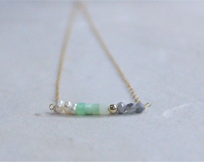 14k Multi stone necklace (Gray moonstone)