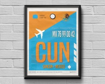 Cancun Poster, Mexico Luggage Tag, Airport Tag Print, Cancun Print, CUN Airport Code, Gift for Travellers, Mexico Souvenir, Cancun Souvenir