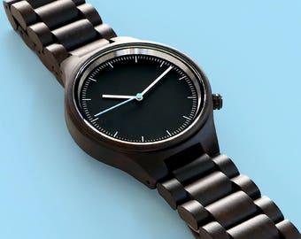 Black Sandalwood Watch - Custom Engraved Wooden Watch, Mens Wood Wris tWatch, Gifts for Him, Fathers Gift, Husband Boyfriend Gift WS009-BK