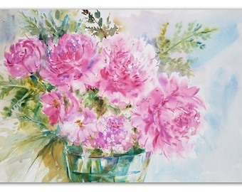 "ORIGINAL WATERCOLOR of Peonies - Painting entitled: ""In the Pink!"" - Watercolor Painting by Linda Henry (#HS002)"