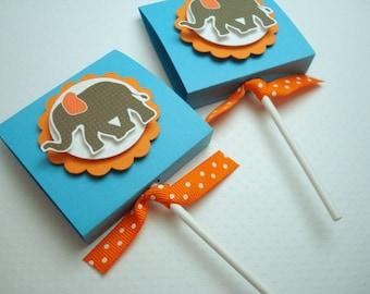 Éléphant de cirque Lollipop Party Favors, turquoise et Orange, ensemble de dix