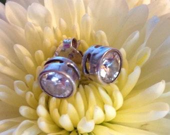 Sterling Silver Bezel Set CZ Earrings (st - 1502)