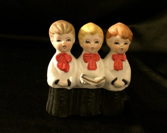 Vintage Three Boy Christmas Carolers Porcelain Figurine