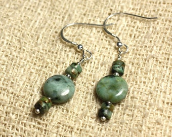 925 Silver - beads 10mm African Turquoise earrings