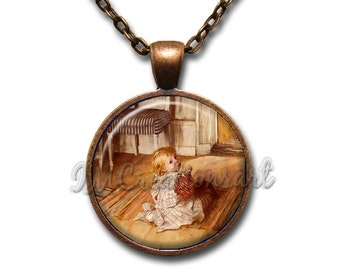 Carl Larsson Pontus Glass Dome Pendant or with Chain Link Necklace AP134