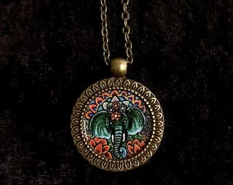 Bronze-Toned Elephant Totem Pendant Necklace