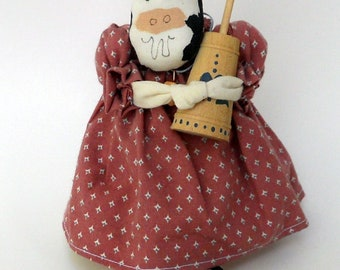 Cute Handmade Cow with Butter Churn, Rag Toy, Cow with Dress, Whimsical Cow Decorative Doll, Decorative Use only