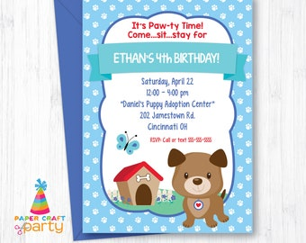 Puppy Invitation - Printable Doggy Invite - Puppy Dog Party - Instantly Download and Edit at Home with Adobe Reader