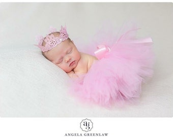 Baby Tutu and Lace Crown Set in Pretty Pink, MADE TO ORDER