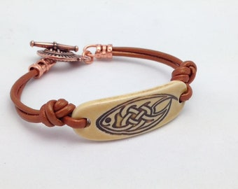 Celtic Fish Ceramic Bracelet with Genuine Leather and Copper Clasp. Handmade Jewelry. One of Kind Gifts. Religious Jewelry. Confirmation