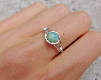 Wire ring, silver ring, silver wire ring, wire wrapped ring, simple ring, turquoise stone ring, turquoise ring, gemstone ring, stone ring