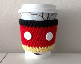 Mickey Mouse Cup Cozy - Mickey fan gift - crochet - coffee cup cozy - cup holder - tea cozy - coffee sleeve