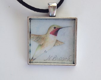 Hummingbird Pendant Handmade with Watercolor Art Print
