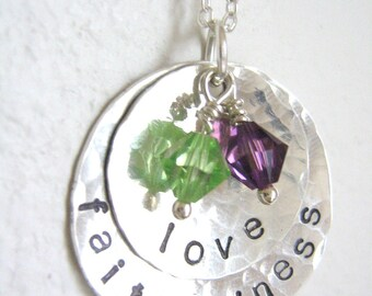RESERVED for brerrabbit6 - love and faithfulness - Personalized Hand Stamped Sterling Silver Necklace with two swarovski crystals