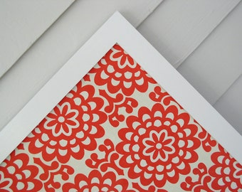 Modern Magnetic Bulletin Board - Magnet Board - Fabric Covered Memo Board 20.5 x 26.5 Coral Red Fabric Message Board Handmade Wood Frame