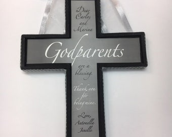 Godparents Cross  approx 7 x 9 inches- Silver Black and White