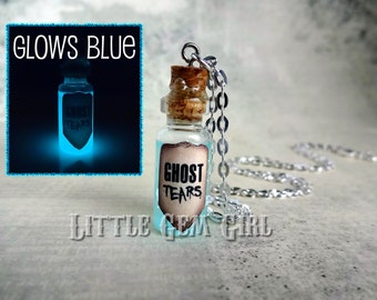 Ghost Tears Glow in the Dark Glass Bottle Necklace - Haunted Glowing Necklace - Potion Vial Charm - Liquid Shimmer Magic Spells Occult