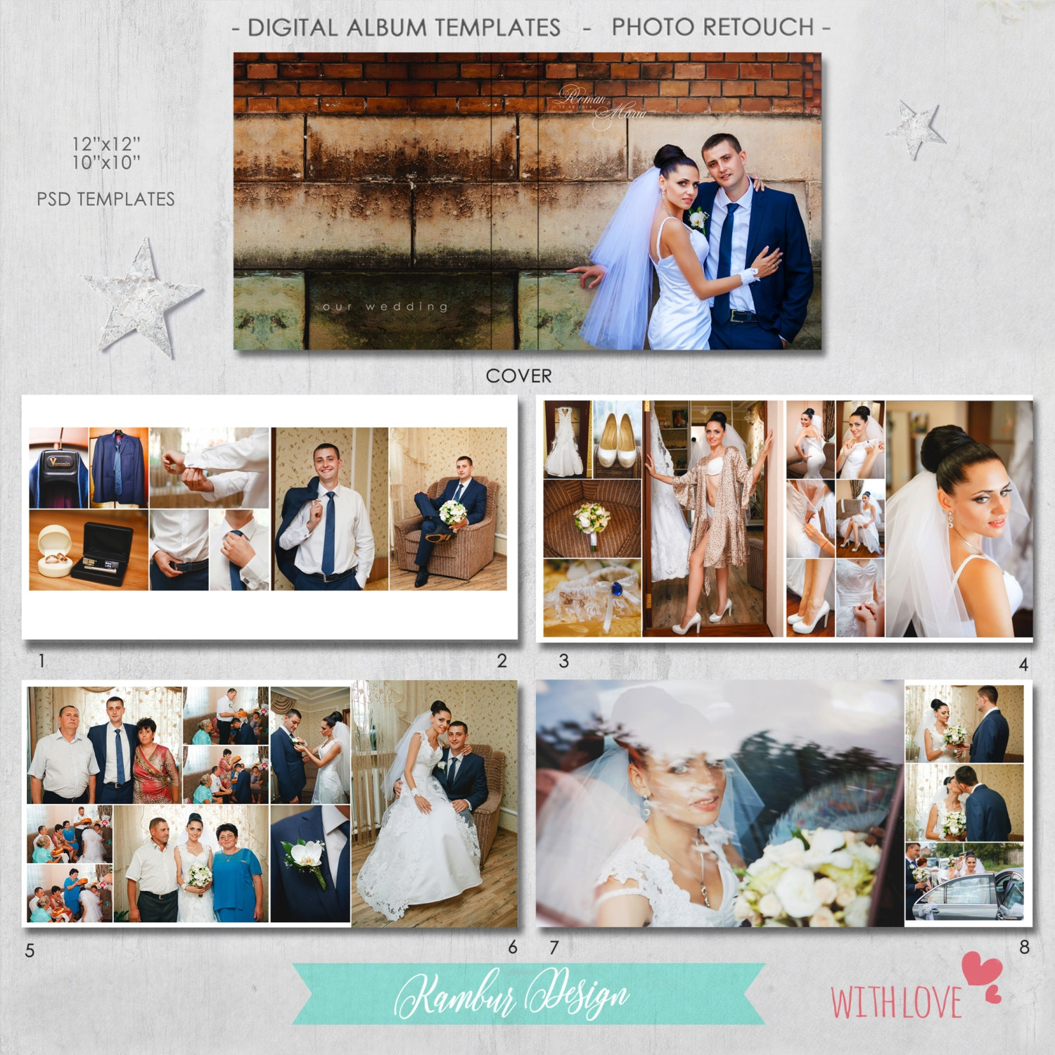 12X12, 10X10 PSD (40 pages), Wedding Album Template - 20 spread and ...