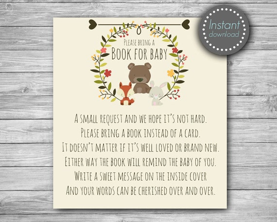 Woodland Baby Shower Bring A Book Instead Of A Card, Baby Shower Book  Request, Book Request Card, Bring A Book Card, Book Request Insert